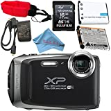 Fujifilm FinePix XP130 Digital Camera (Silver) #600019824 + Camera Floating Strap + Replacement Lithium Ion Battery + MicroFiber Cloth Bundle