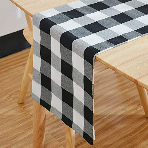 """NATUS WEAVER Black & White 2 Piece Fabric in 1 Buffalo Check Table Runner for Family Dinners or Gatherings, Indoor or Outdoor Parties, Everyday Use (12"""" x 72"""", Seats 4-6 People)"""