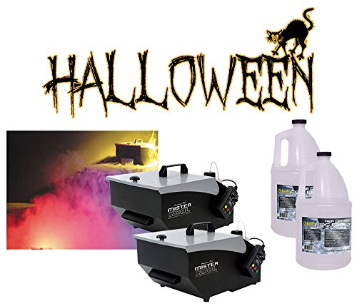 (2) Halloween Mister Kool Low Laying Fog Smoke Machine with (2) Gallon Fluid New by American Sound Connection