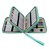 Prime Amazon Day Deals Sale-120 Colored Pencils Pencil Case-PU Leather Handy Large Multi-Layer