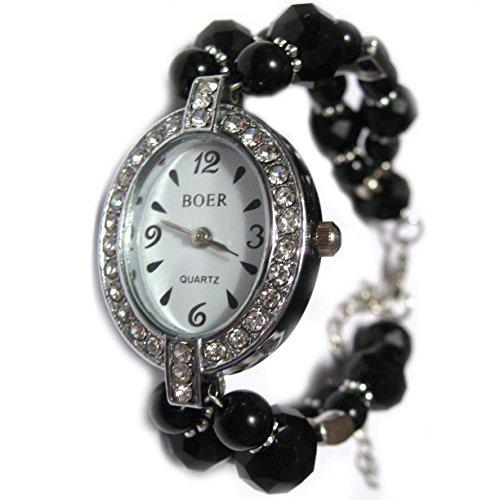 (Vanillatron Quartz Black Onyx Austrian Crystal Bead Link Charm Watch Clock Bracelet)