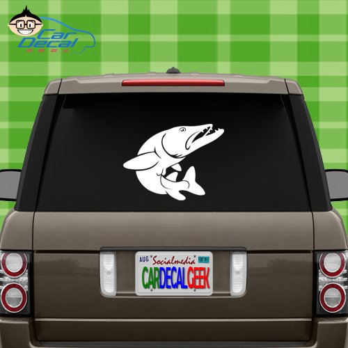 Pike Fish FishingVinyl Decal Sticker for Car Truck Window Laptop MacBook Wall Cooler Tumbler | Die-Cut/No Background | Multiple Sizes and Colors, 20-Inch, Silver