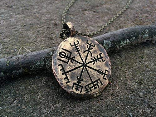 Handcrafted Viking Compass Vegvisir Guiding Pendant Necklace Norse Jewelry Amulet ()