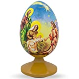 BestPysanky 4.75'' Nativity Scene with Angel Wooden Egg Figurine