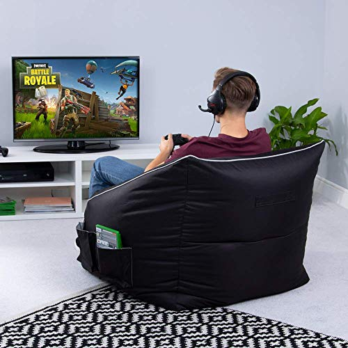 Indoor Living Room Game Over Portal Jump Video Gaming Bean Bag Chair Headset Holder Side Pockets for Controllers Ergonomic Design for the Dedicated Gamer