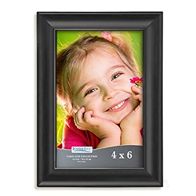 Icona Bay 4x6 Picture Frame (1 Pack, Black), Black Photo Frame 4 x 6, Composite Wood Frame for Walls or Tables, Set of 1 Lakeland Collection - LOOKS AMAZING! - Dress up any room in your home or office; Great gift for Christmas, best friend birthday, grandma, baby shower, family collage, for women or for men INCLUDES - 1 Frame; Fits standard 4 x 6 pictures or prints; Pleasing smooth wood composite molding; High definition glass for clarity and image protection WALL MOUNT or TABLE TOP - Includes hanger hooks to easily hang artwork or photographs in either portrait or landscape orientation; Versatile kickstand easel lets you display either horizontally or vertically - picture-frames, bedroom-decor, bedroom - 51kTbTQvT3L. SS400  -