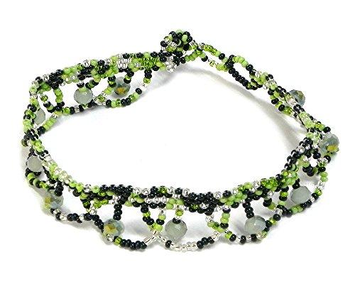 Lime Crystal Bracelet - Seed Bead Crystal Bead Loop Dangle Multi Beaded Anklet (Green/Lime/Silver)