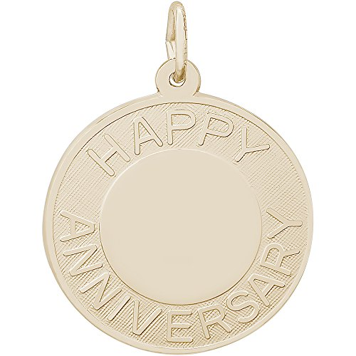 Happy Anniversary Disc Charm (Rembrandt Charms 10K Yellow Gold Happy Anniversary Disc Charm (22 x 22 mm))