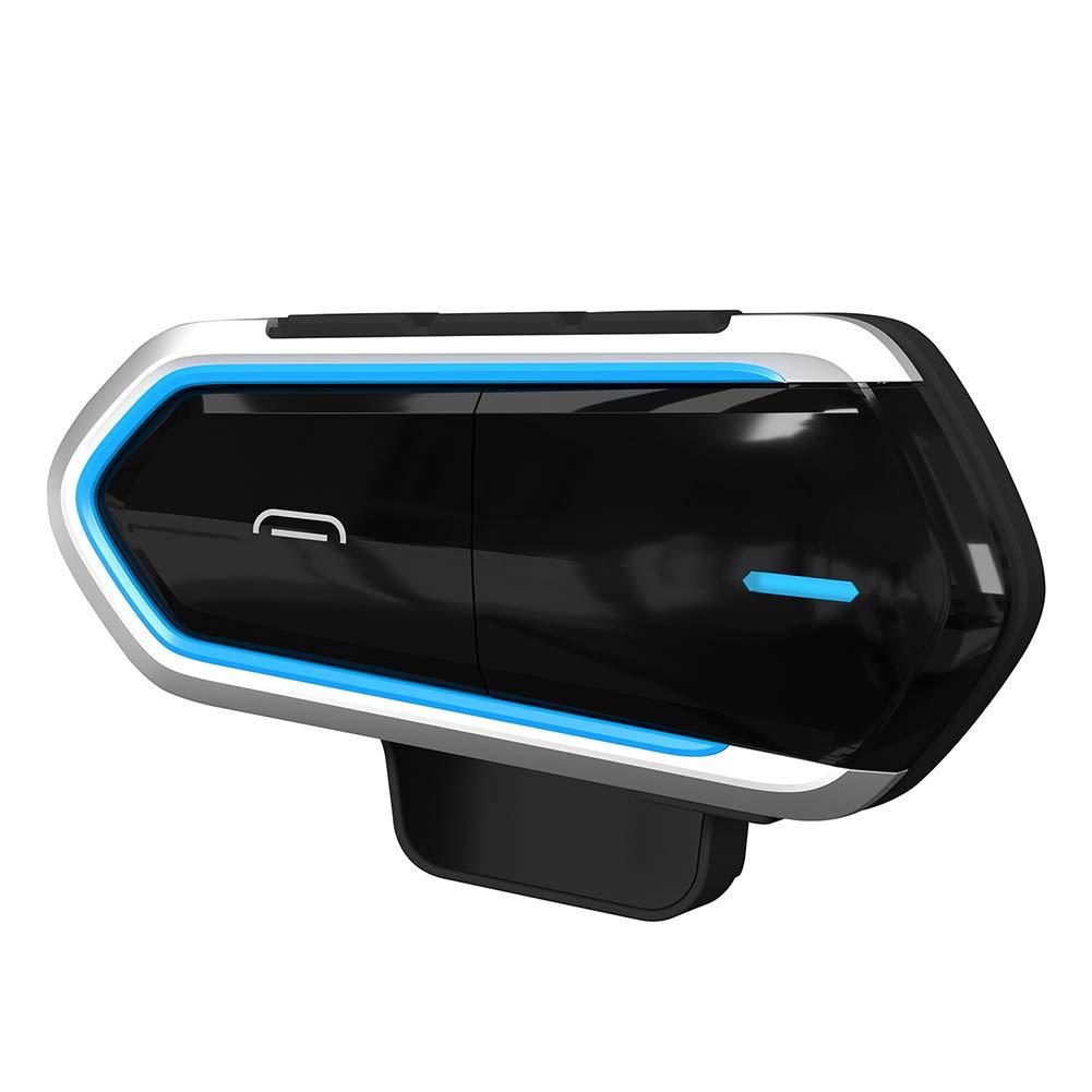 interfono con Radio FM Senza Fili Taglia Unica Lettore MP3 Impermeabile Casco da Moto con Cuffie Bluetooth Intercom Blu