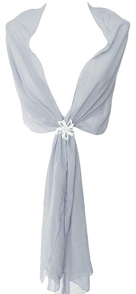 91e676863d5 Alivila.Y Fashion Womens Bridal Evening Scarf Shawl Wrap-Grey Chiffon