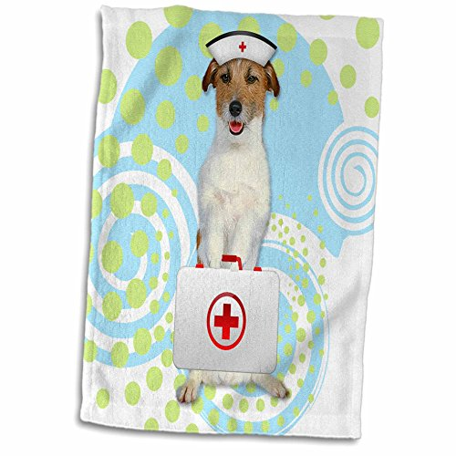 3dRose Jack Russell Terrier Dog in a Nurses Cap with First Aide Kit Towel, 15