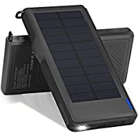 Titita Solar Charger, 10000mAh Quick Charge 3.0 Solar Power Bank with 2 USB Port and 1 LED Light, Solar Panel Portable Charger with Carabiner and Waterproof Function for IOS/Android Cellphones