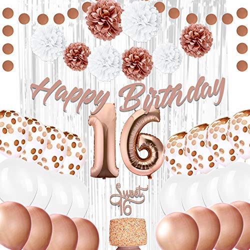 EpiqueOne 16th Birthday Party Decorations - Balloons Party Supplies Kit - Sweet 16 Rose Gold Décor with 2 Silver Curtains, Balloons, Banner, Mylar & Pompons - Royal Event Décor Props