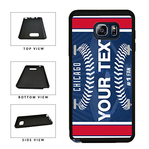BleuReign(TM) Personalized Custom Name Baseball Chicago Blue License Plate TPU RUBBER SILICONE Phone Case Back Cover For Samsung Galaxy Note V 5