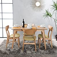 Camilla Light Green Fabric/ Natural Oak Finish 50 Rectangular 5 Piece Dining Set