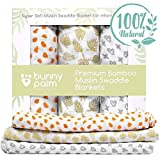 organic swaddle blanket - Swaddle Blanket, Newborn Baby Organic Bamboo Muslin Swaddle Blanket Set of 3 by Bunny Palm - Soft Receiving Blanket - Large - Unisex Infant Toddlers Newborn Boy and Girls - 47 x 47 inch - Easter Gift
