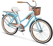 Huffy Panama Jack Beach Cruiser Bike w/Cup Holder, Rear Rack & Handlebar Ba