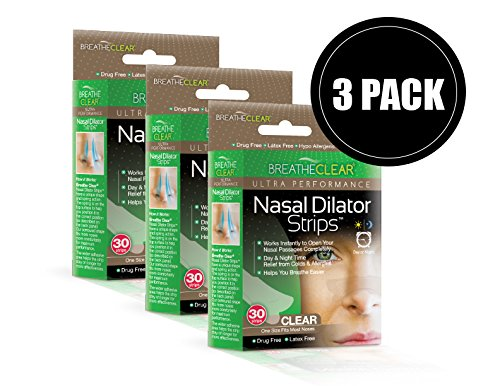 Breathe Clear Nasal Strips Day Or Night Extra Strength for Snoring, Colds, Allergies & Other Congestion Ailments - Hypo Allergenic Nasal Strips (90 Count, Clear) by Breathe Clear