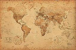 World Map (Antique) Art 24x36 Poster