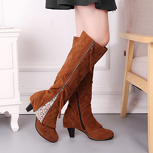 KHSKX-Tassel Lace High Heel Shoes Thick Heel Fashion Big Code High Barrel Boots Thirty-six nzXrOR