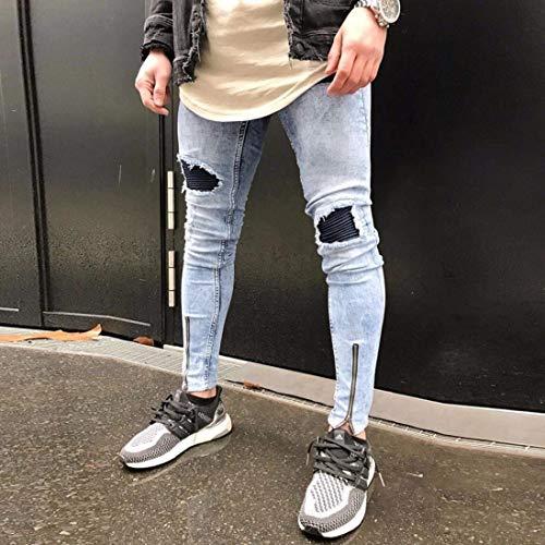 Abbigliamento Uomo Pantaloni Hiphop Slim Vintage Casual Jeans Strappati Blau Streetwear Fit Da Cf0w6ng