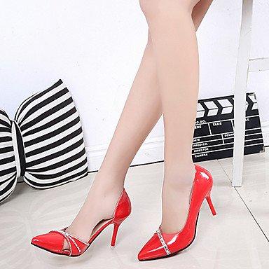 pwne Tacones Mujer Primavera Verano Comodidad Pu Caminar Al Aire Libre Stiletto Talón Rubor Rosa Roja Blanco Y Negro US6 / EU36 / UK4 / CN36