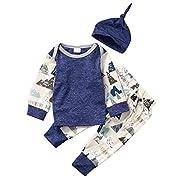 Baby Boy Girl 3pcs Set Mountain Pattern Suit Long Sleeve Top+Pants+Hat (3-6months, Deep Blue)