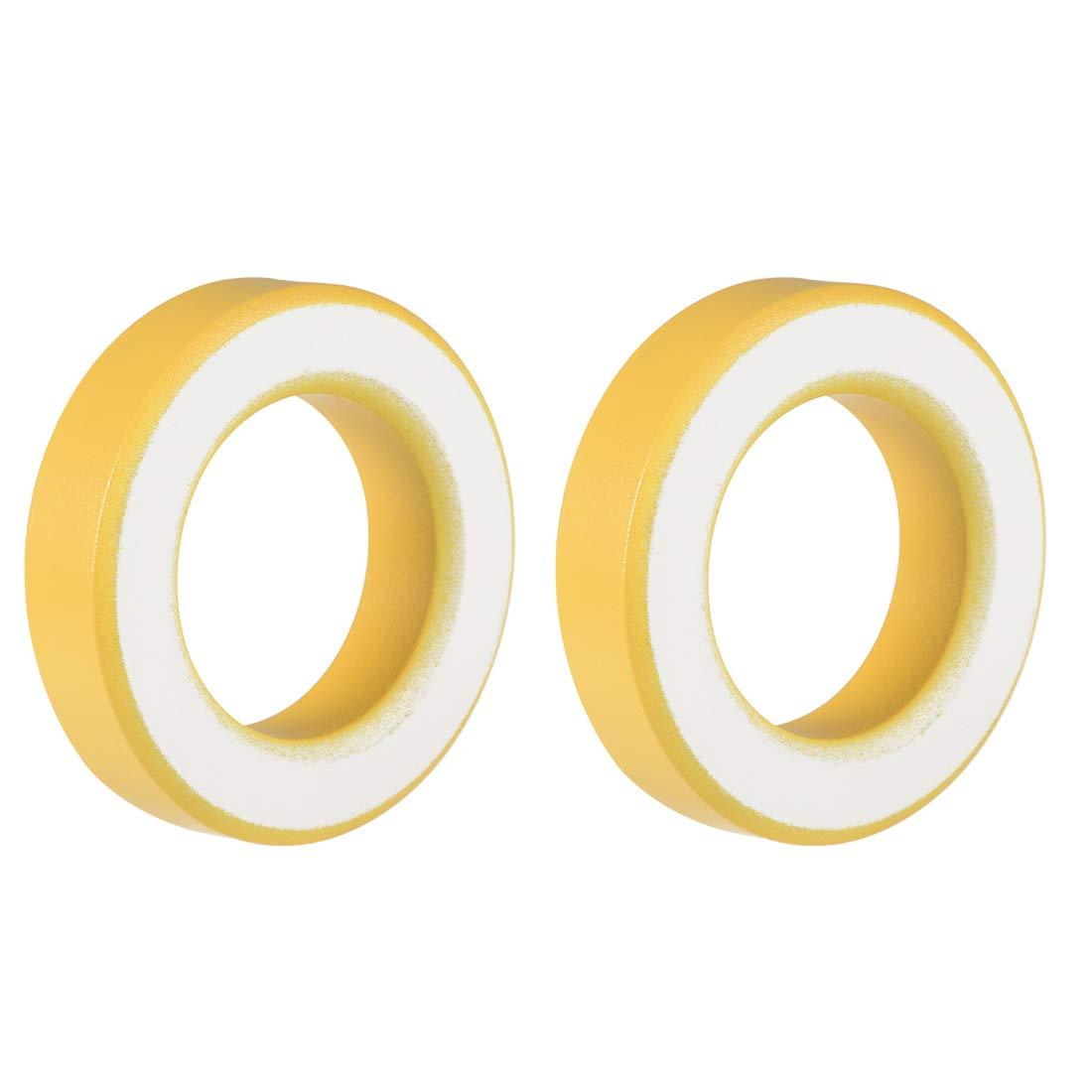 uxcell 2pcs 35.4 x 57.7 x 14mm Ferrite Ring Iron Powder Toroid Cores Yellow White