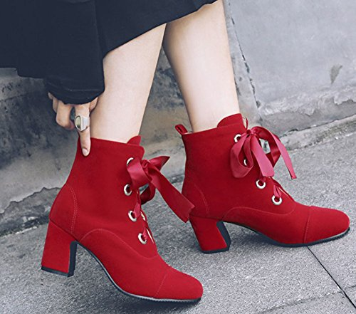 Easemax Women's Warm Lace Up Round Toe Faux Suede Chunky Mid Heels Ankle High Martin Booties Red 9GgaHCdP0