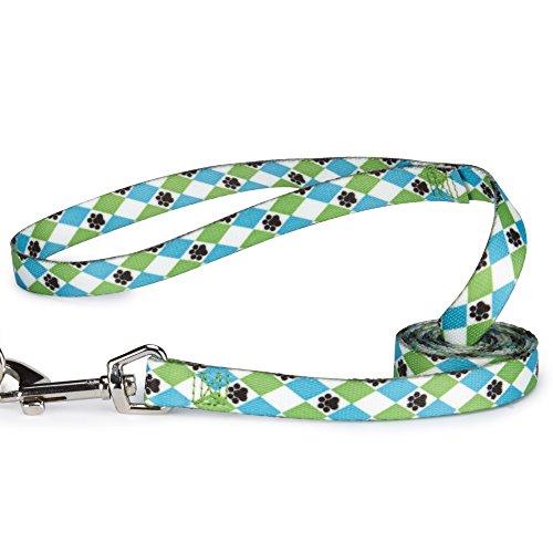 Casual Canine Pooch Patterns Dog Leash, 6-Feet x 1-Inch Lead, Blue Argyle