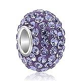 925 Sterling Silver Jan-Dec Birthstone Charms Swarovski Elements Crystal Sale Bead Fit Pandora Bracelet(Purple February Birthstone)