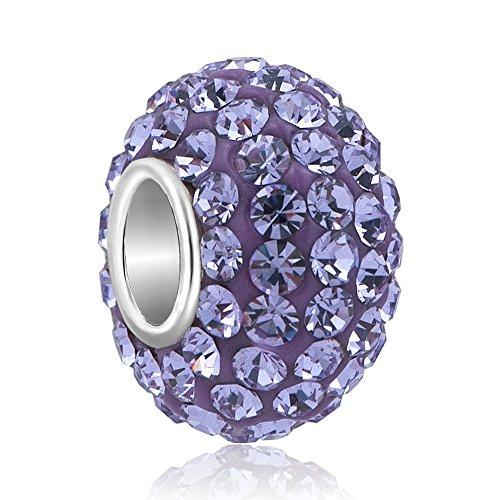 925 Sterling Silver Jan-Dec Birthstone Charms Swarovski Elements Crystal Sale Bead Fit European Bracelet (Purple February (Sale European Bead)