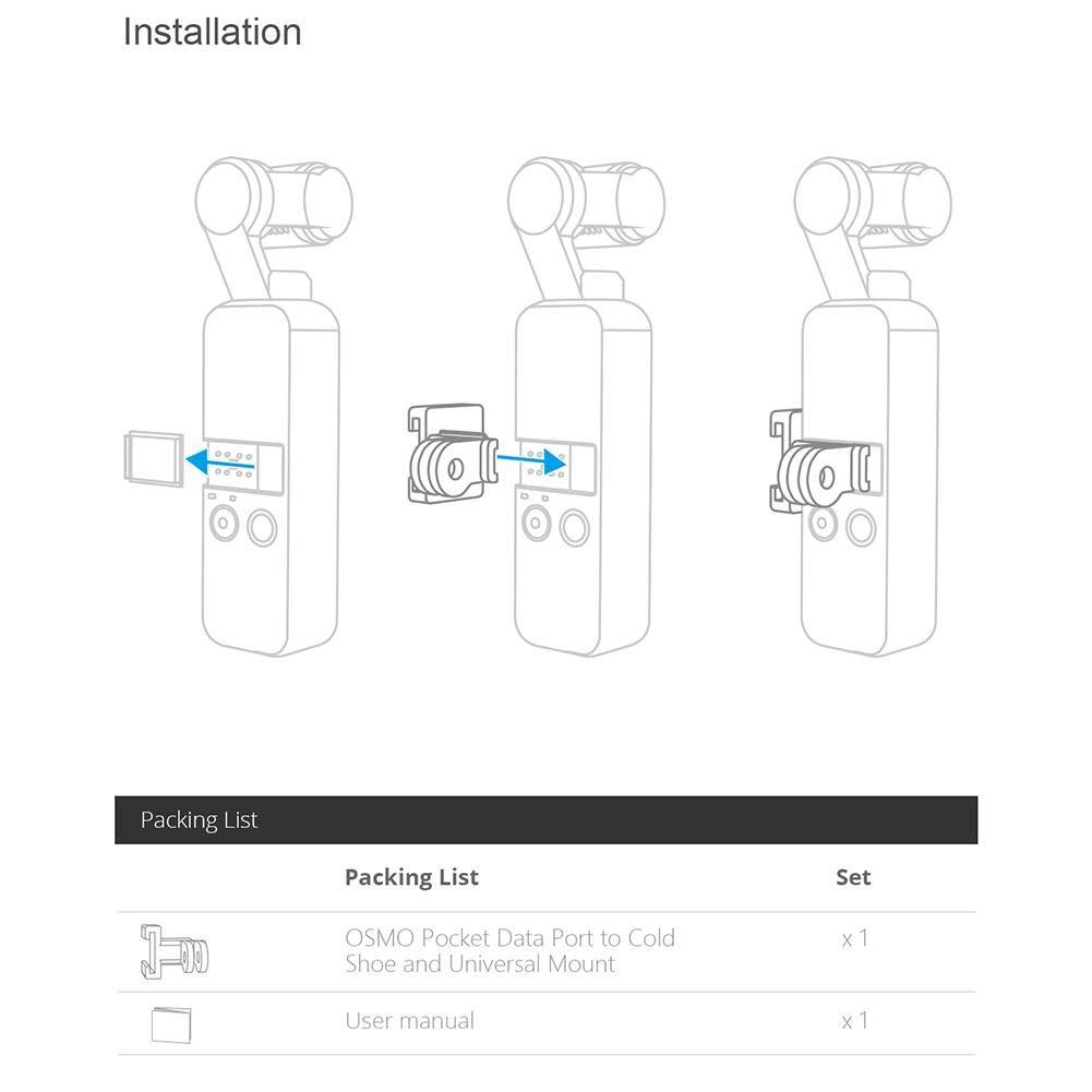 Eillybird PGYTECH Porta Dati per Scarpe Fredde e Montaggio di espansione Universale per OSMO Pocket per Selfie Stick Estensione Pole Treppiede Accessori per Fotocamere