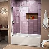 DreamLine SHDR-3636580-01 EZ-Fold 36-Inch Frameless Hinged Tub Door, Chrome Finish