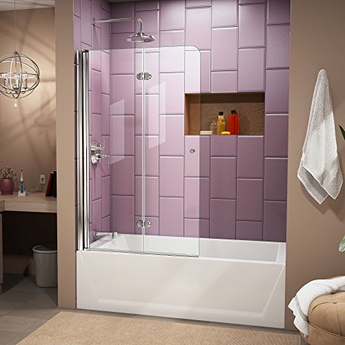 DreamLine SHDR-3636580-01 Aqua Fold 36-Inch Frameless Hinged Tub Door, Chrome Finish by DreamLine