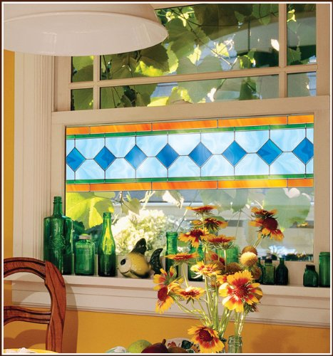 Charleston Stained Glass Accents Window Film - 8 in Border - 2 each