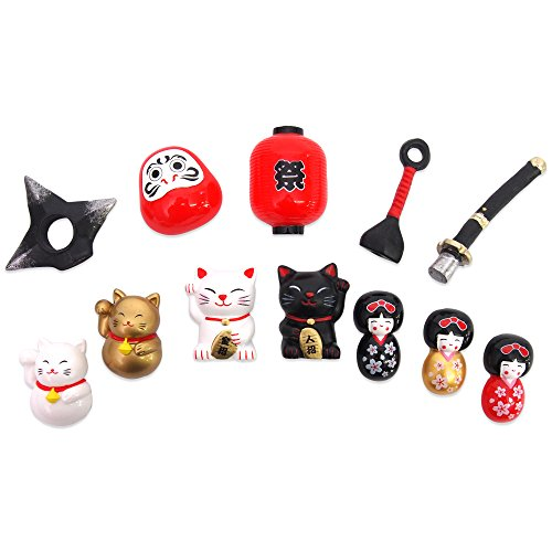 (Japanese Traditonal Magnet 5pcs assort set (Manekineko,Kokeshi,Daruma,Katana,Matsuri) by JAPANESE cool items store)