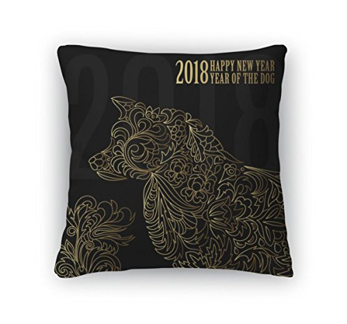 Gear New Throw Pillow Accent Decor, 2018 Greeting Chinese New Year Card With Stylized Dog One Color Print, 20