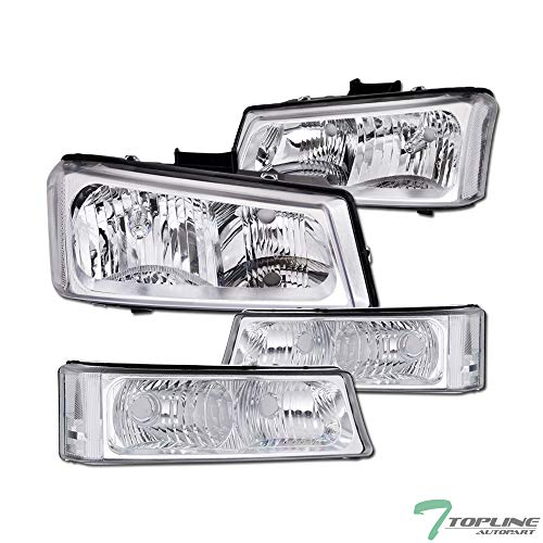 Topline Autopart Chrome Clear Housing Headlights With Signal Bumper Lamps 4-Pieces NB For 03-06 Chevy Silverado ; 2007 Classic Style ()