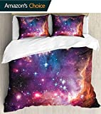 3-Piece Reversible Quilt Set with Shams. 79'x 79',Reversible classic bed cover tops. Machine wash,Cosmos Decor Magellanic Celestial Cloud Stars and Colorful Galaxy Our Infinite Universe View Pattern M