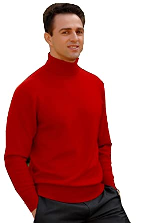 324ffd9c74ef MEN S ROLL NECK SOFT SUPERIOR QUALITY COTTON LONG-SLEEVE TOPS RED   SAME DAY
