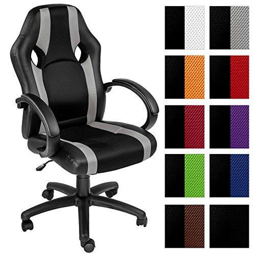 TecTake Bürostuhl Racing Chefsessel Sportsitz mit gepolsterten Armlehnen - diverse Farben - (grau   nr. 402162)