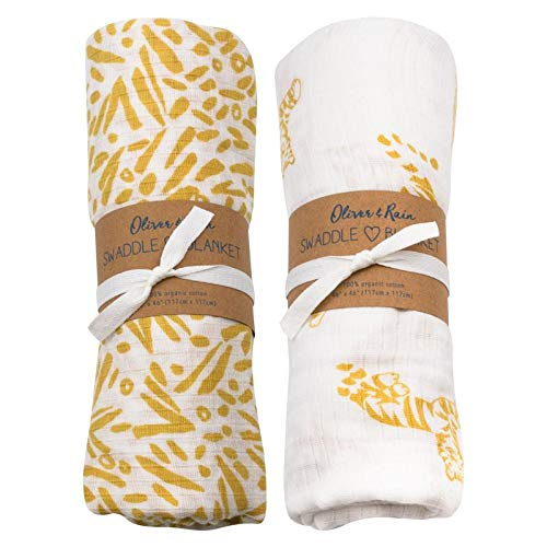 (Oliver & Rain - Organic Cotton Muslin Gold Tiger & Gold Jungle Leaf Print Swaddle Sampler, NB, 2-Pack)