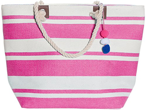 Large Zipper Top Stripe Straw Look Beach Bag Tote