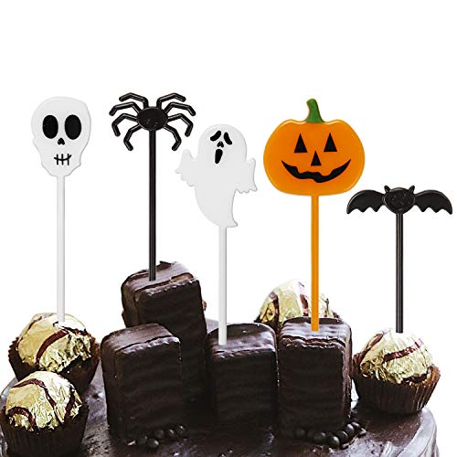 Halloween Themed Desserts (LUTER 100 Pieces Halloween Cupcake Toppers Cute Plastic Party Food Picks with Pumpkin Ghost Spider Bat Design for Halloween Decorations Kids Birthday Carnival Themed)