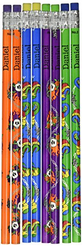 NameStar Personalized #2 Pencils, Snake/Heart and Skull Designs, Pack of 8 - Daniel (96078) - Snake Pencil