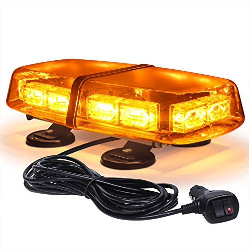 Linkitom LED Strobe Flashing Light -72 LED High Intensity Emergency Hazard Warning Lighting with 4 Heavy Duty Strong Magnets and 16 ft Straight Cord for Truck Vehicle Roof Safety (Amber)