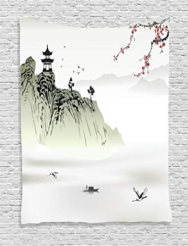 - Ambesonne Asian Decor Collection, Chinese Landscape Painting with the Temple on the Cliff and Flying Gulls over the Clouds, Bedroom Living Room Dorm Wall Hanging Tapestry, White Green