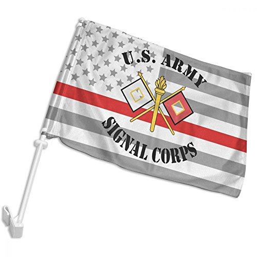 LWHXYEAB Thin Red Line American Flag US Army Signal Corps Logo Car Flag,Car Window Flag,Hooks Onto Car Window,12 X (Signal Flag Hook)