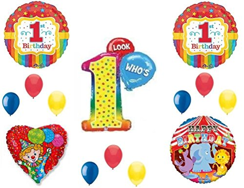 LOOK WHO'S 1 CIRCUS Birthday Party Balloons Decoration Supplies Clown First 1st